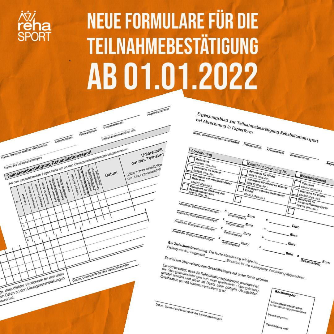 Neue Formulare für die Teilnahmebestätigung ab 01.01.2022